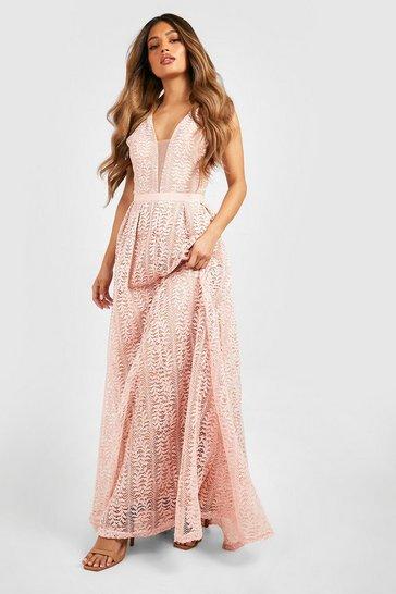 Pink Boutique Lace Plunge Maxi Bridesmaid Dress