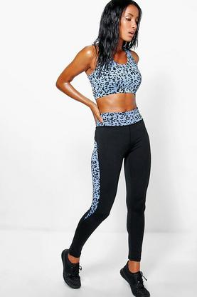 Ava Performance Leopard Panelled Running Legging