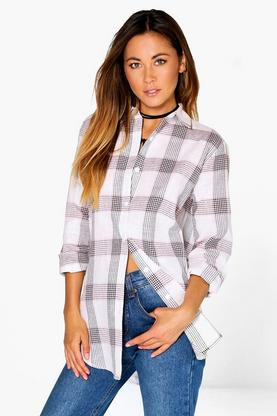 Ellie Grid Check Oversized Shirt