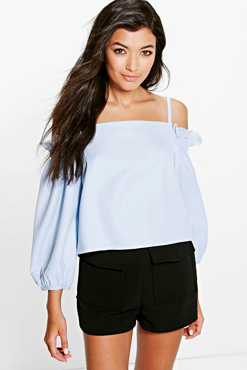 Lola Cold Shoulder Cross Back Bardot Top