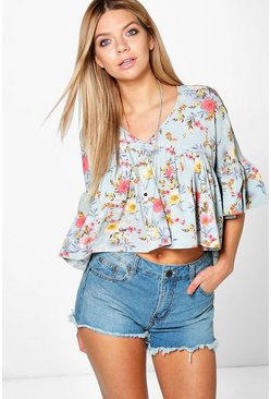 Amy Floral Print V Neck Woven Top
