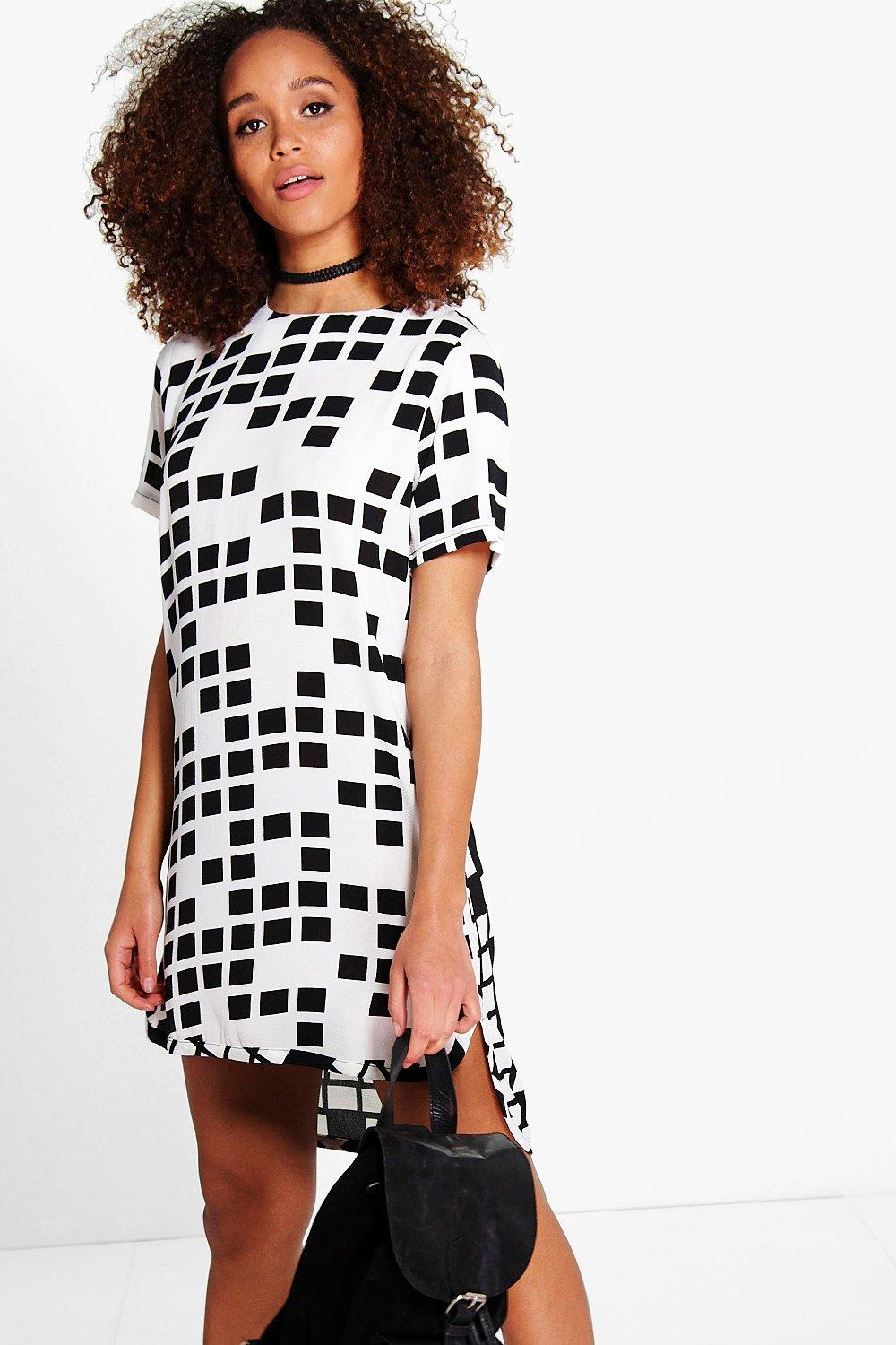 Nikole Mono Check Print Shift Dress