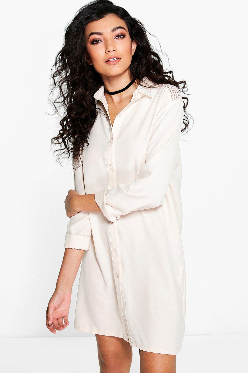 Carolina Lace Panelled Shirt Dress