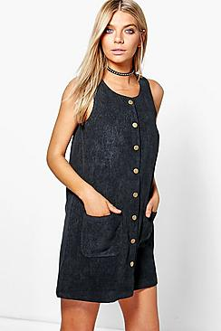Louise Button Through Cord Pinafore Dress