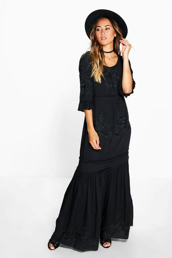 Boutique Natasha Embroidered Maxi Dress