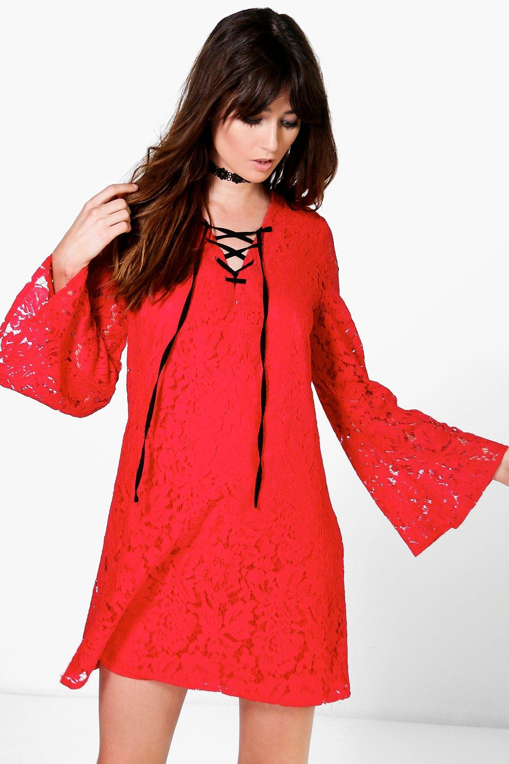 Sophia Lace Up Front Flute Sleeve Shift Dress