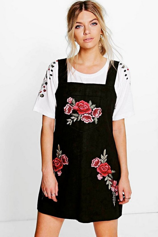 Embroidered Suede Pinafore Dress