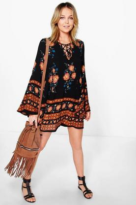 Lilyanna Lace Up Flute Sleeve Swing Dress