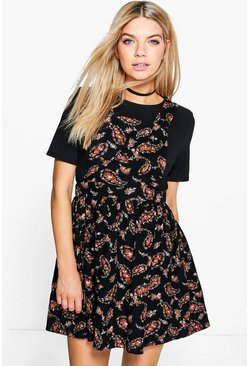 Sophia Floral Printed Cord Pinafore Dress