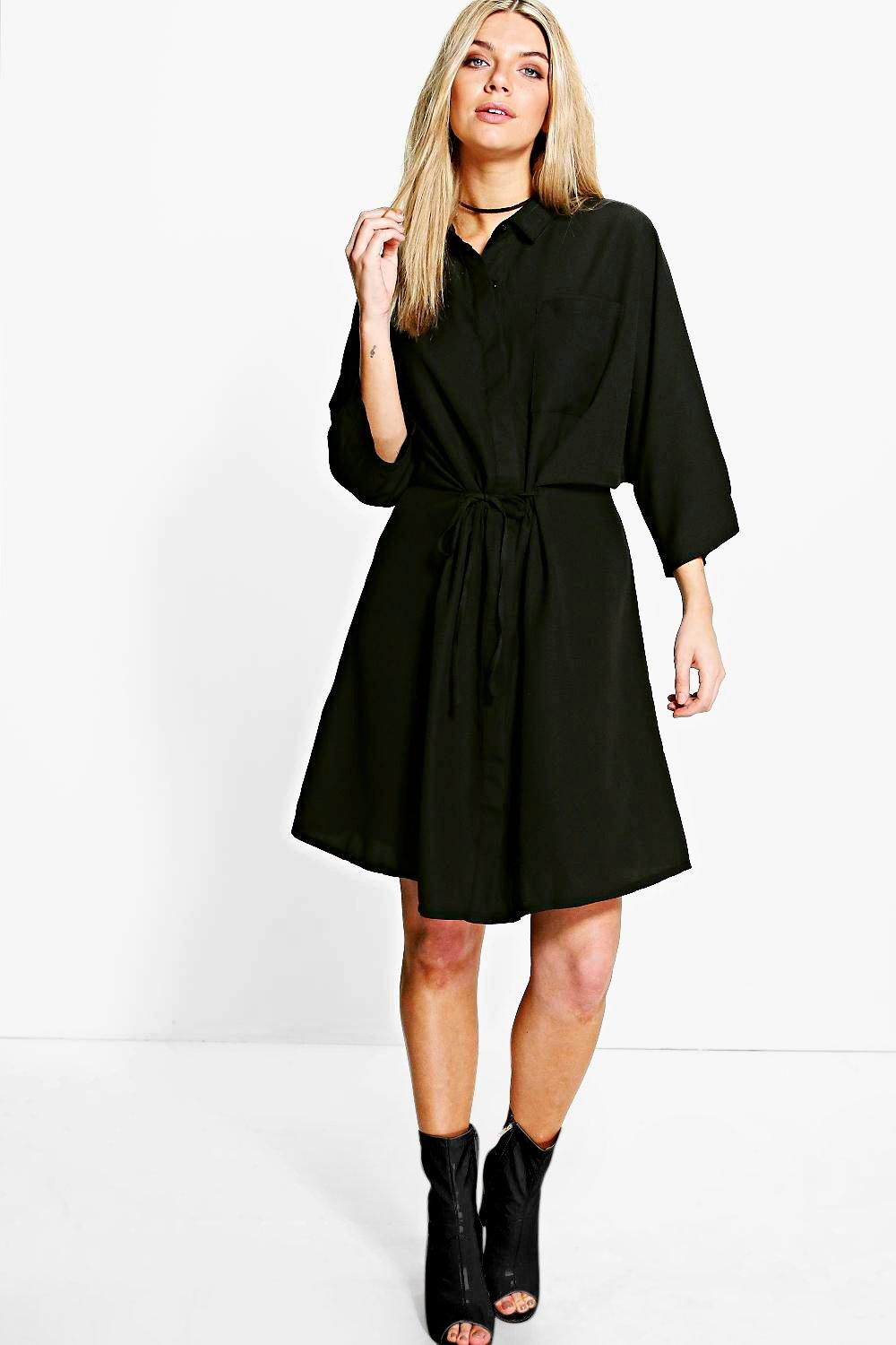 Natasha Rouched Waist Utility Shirt Dress
