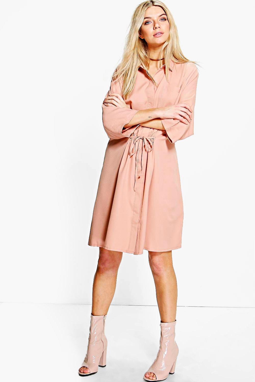 Rouched Waist Utility Shirt Dress - nude