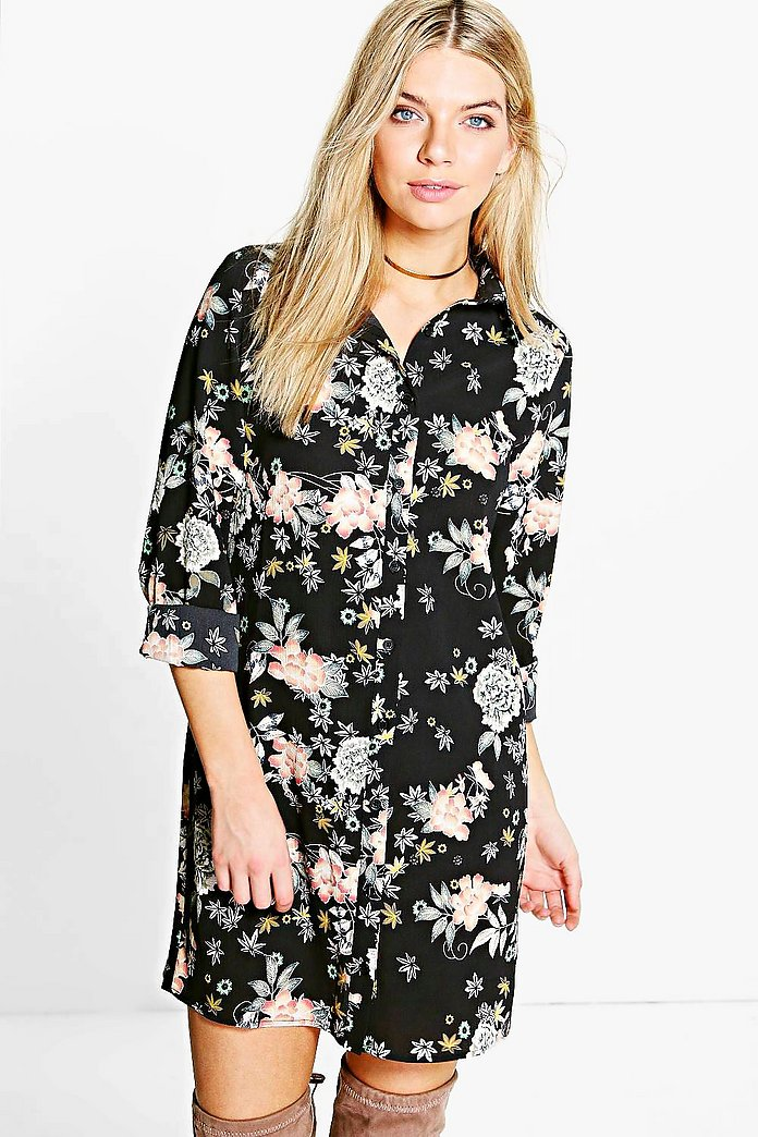 Khloe Floral Oriental Split Sleeve Shirt Dress