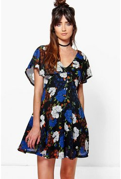 Katrina Angel Sleeve Tea Dress