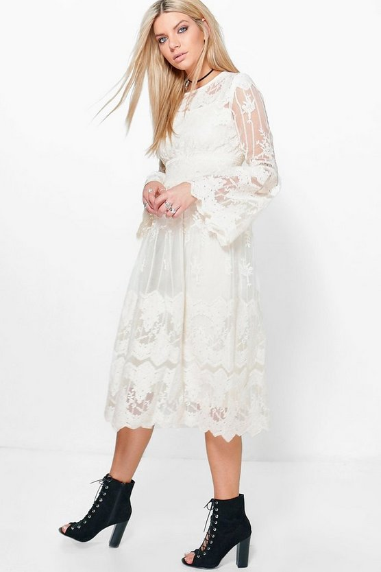 Boutique Tasha Lace Flute Sleeve Smock Dress