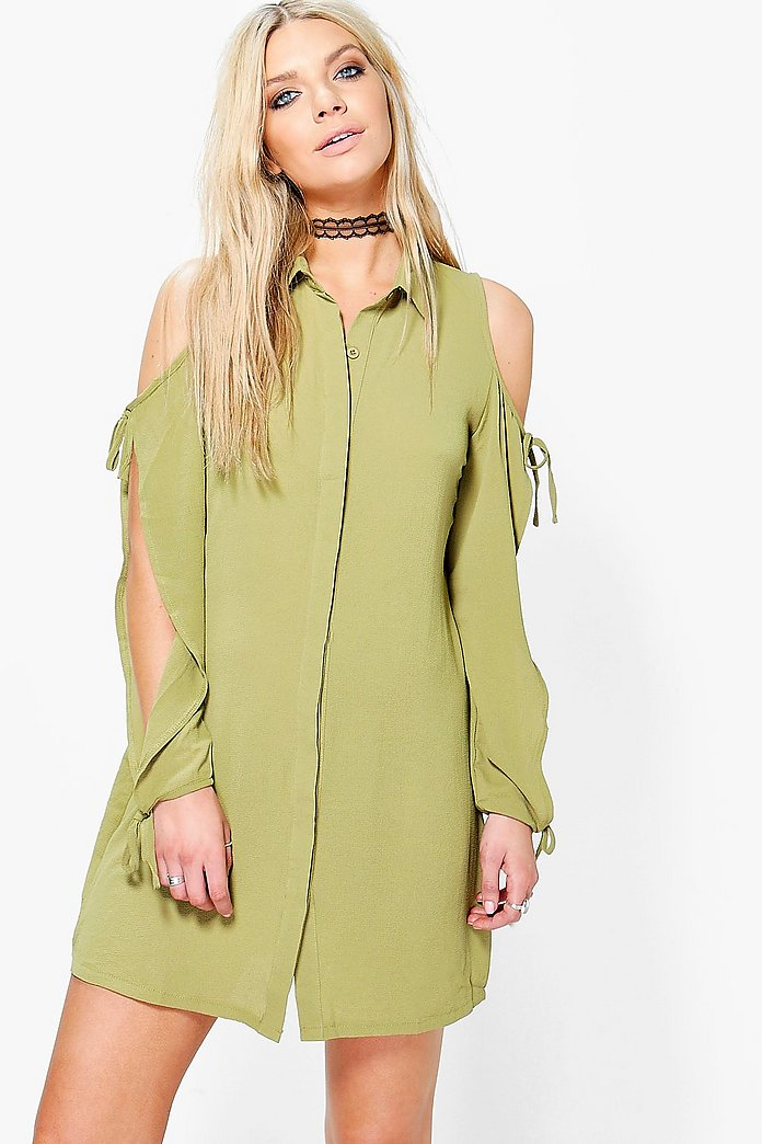 Carminio Cold Shoulder Lace Up Shirt Dress