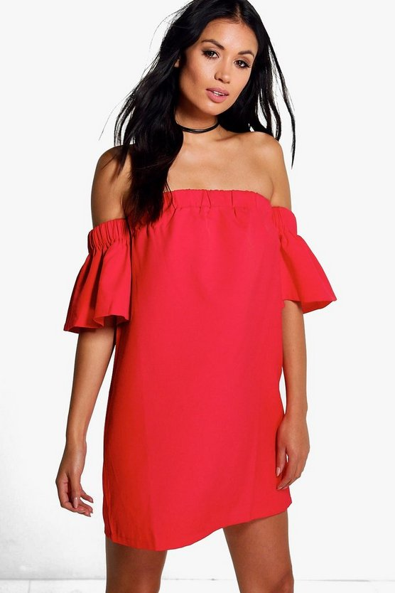 Giovanna Off Shoulder Flute Sleeve Dress