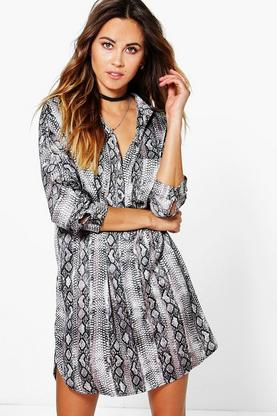 Arianna Snake Print Shirt Dress