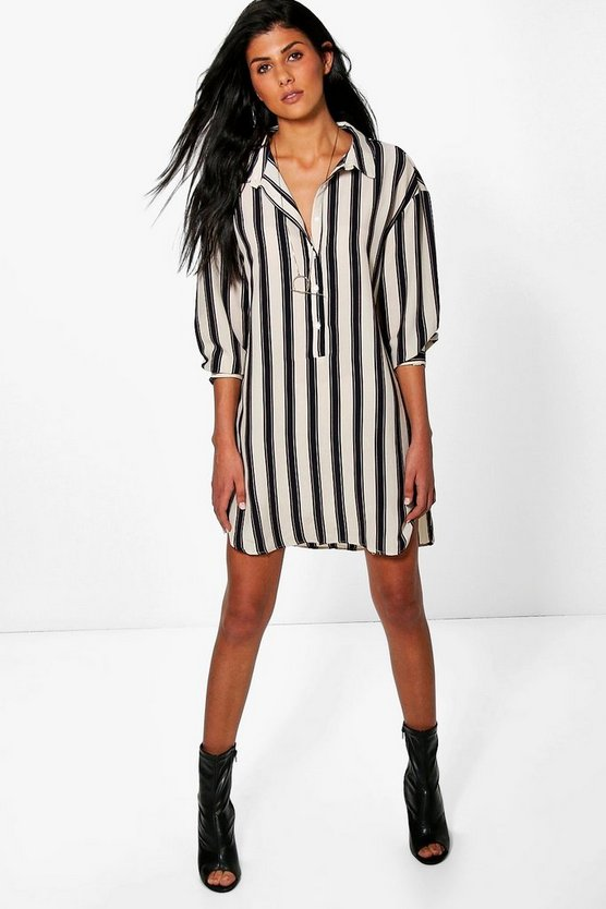 Selena Stripe Shirt Dress