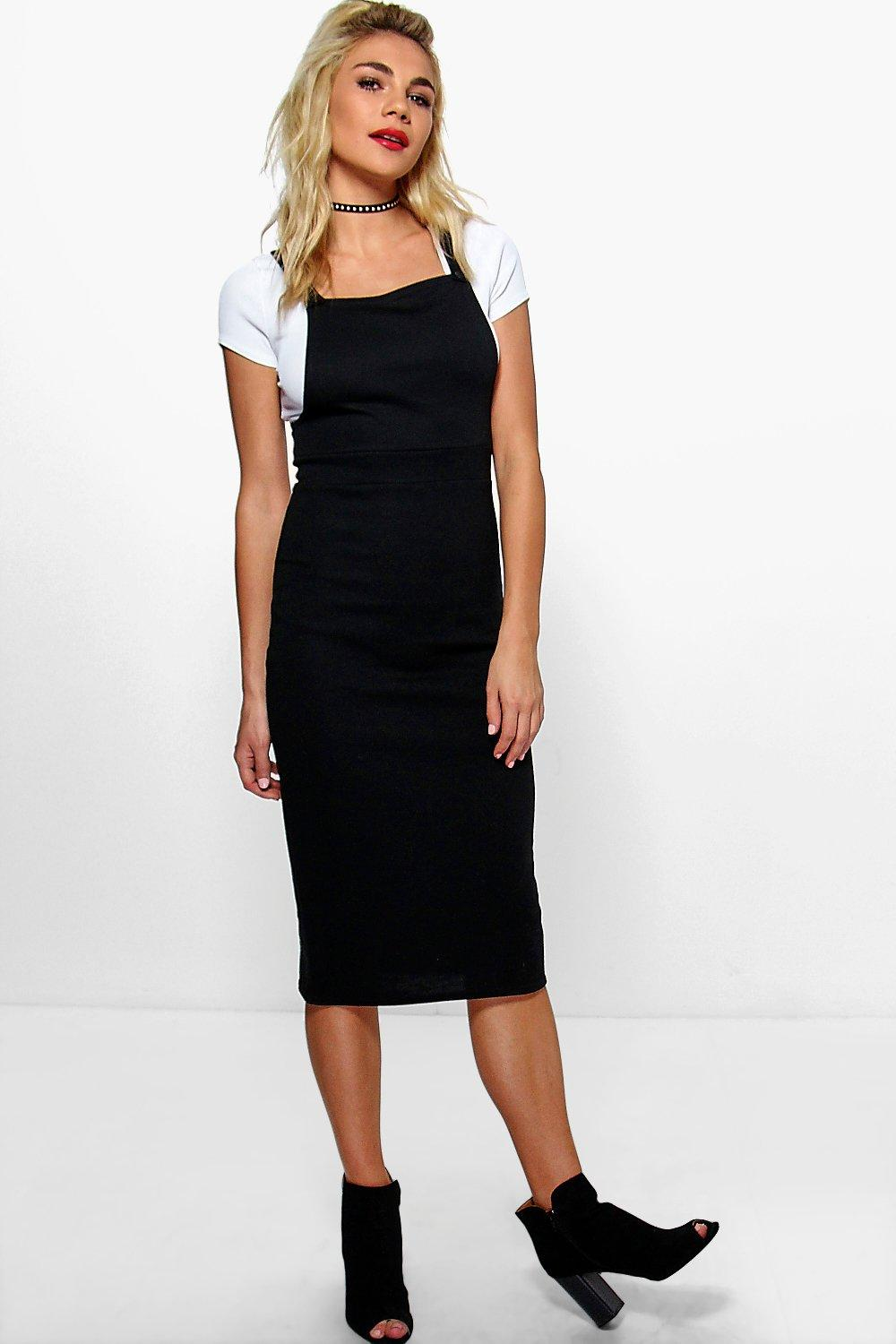 Millie Button Front Midi Pinafore Dress