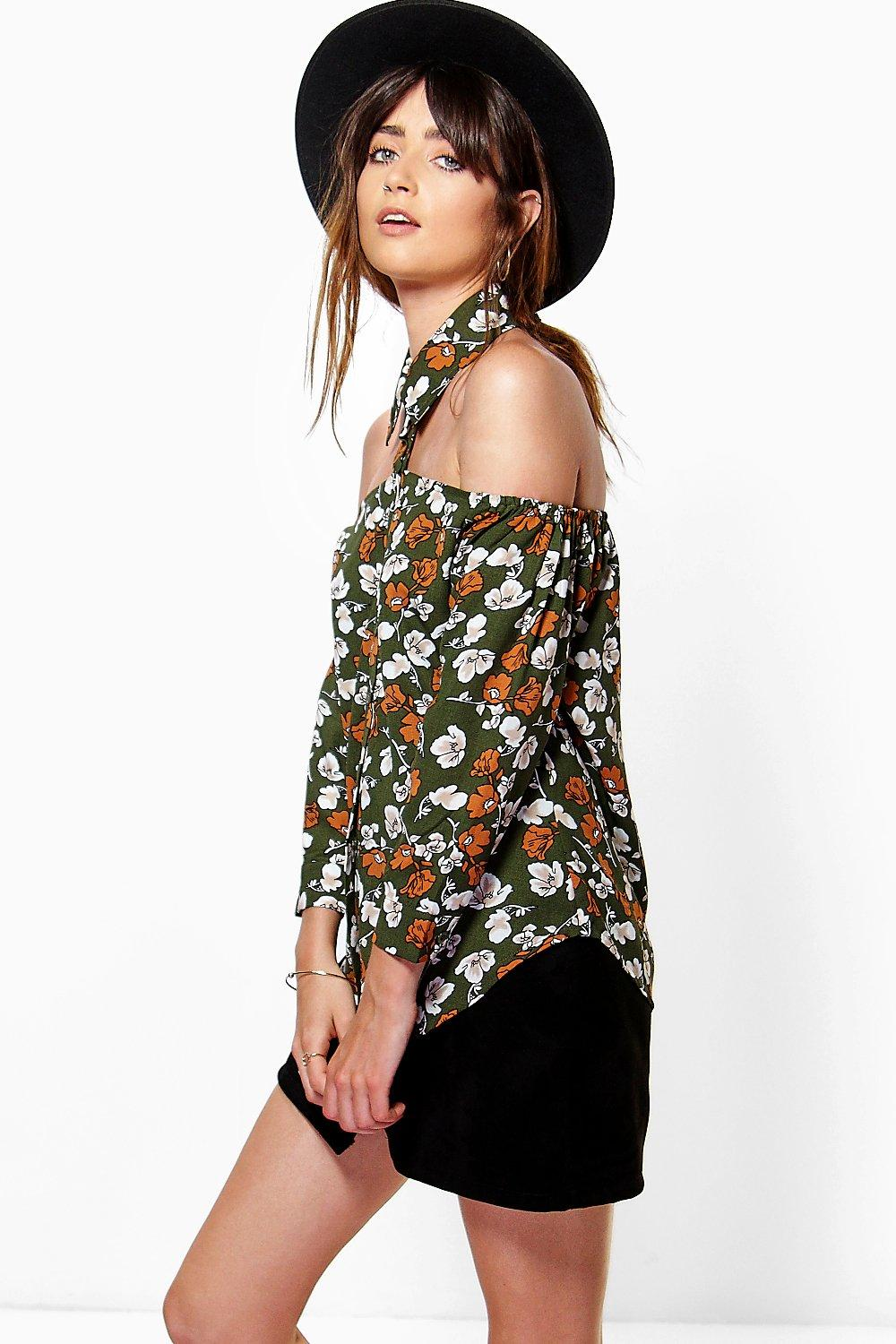 Mandy Floral Print Cut Out Detail Shirt