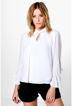 Becca Ruffle Sleeve Collared Blouse