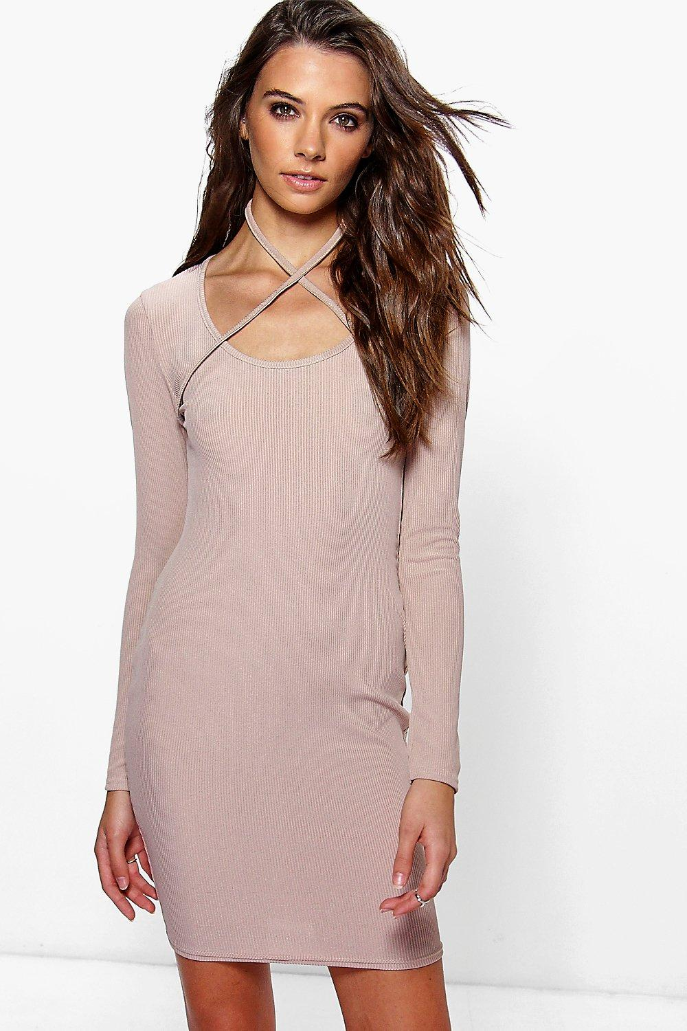 Sienneh Cross Neck Strap Ribbed Bodycon Dress