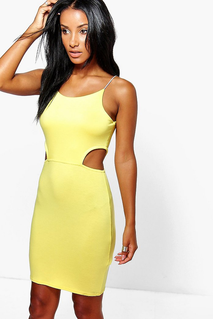 Carmellita Cut Out Side Mini Bodycon Dress