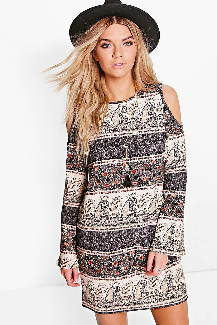 Lucia Paisley Cold Shoulder Flared Sleeve Dress