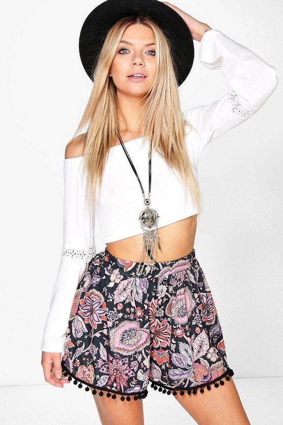Rose Pom Pom Trim Floral Flippy Short