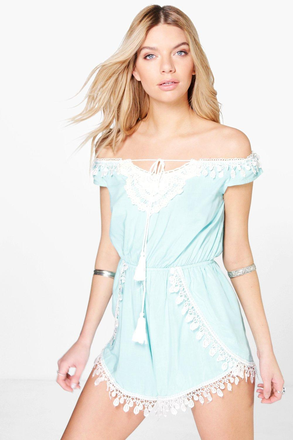 Karina Crochet Trim Off The Shoulder Playsuit