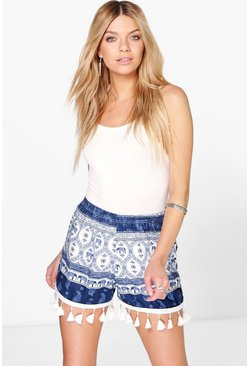 Louise Elephant Print Tassel Trim Short