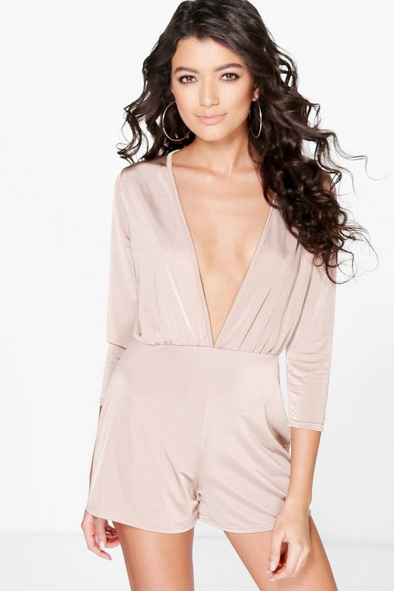 Hannah Deep Plunge 3/4 Sleeve Playsuit