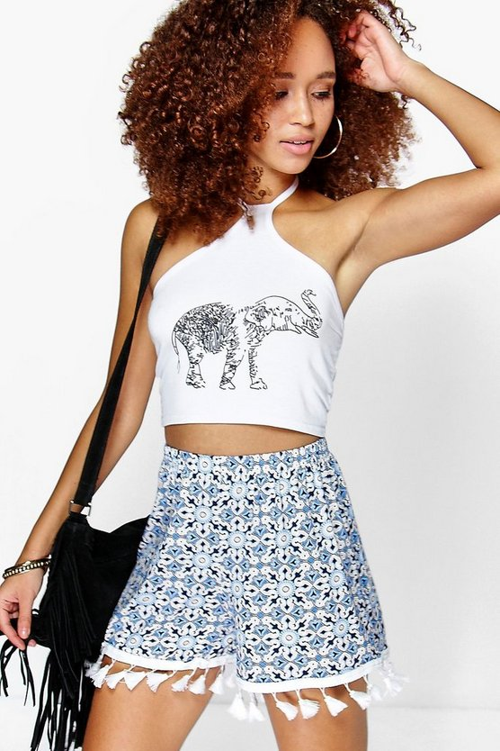 Betty Blue Tile Print Tassel Trim Shorts