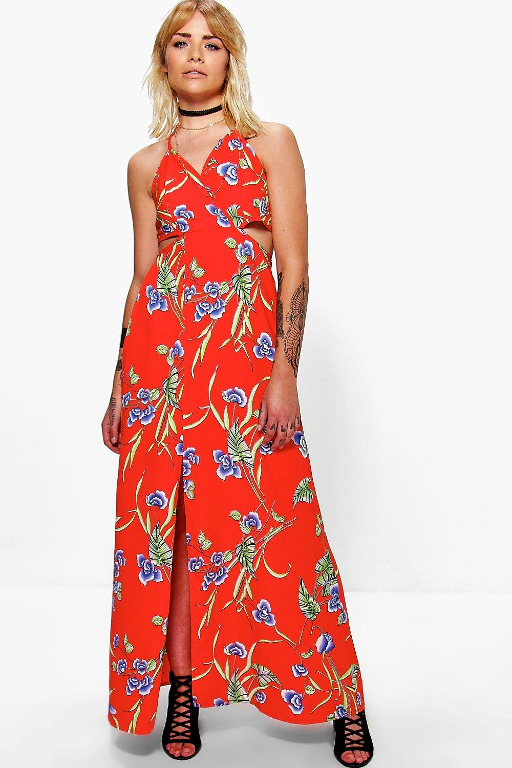 Frey Oriental Cut Out Open Back Midi Dress
