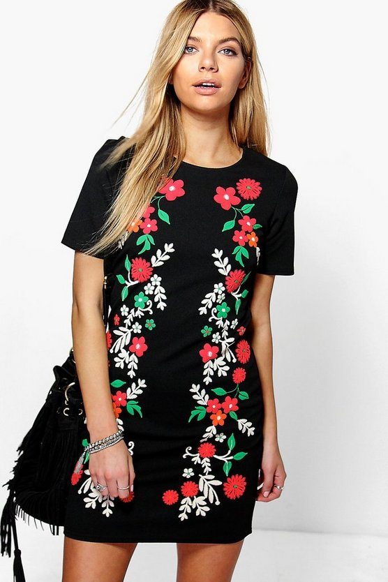 Emma Printed Flower Shift Dress