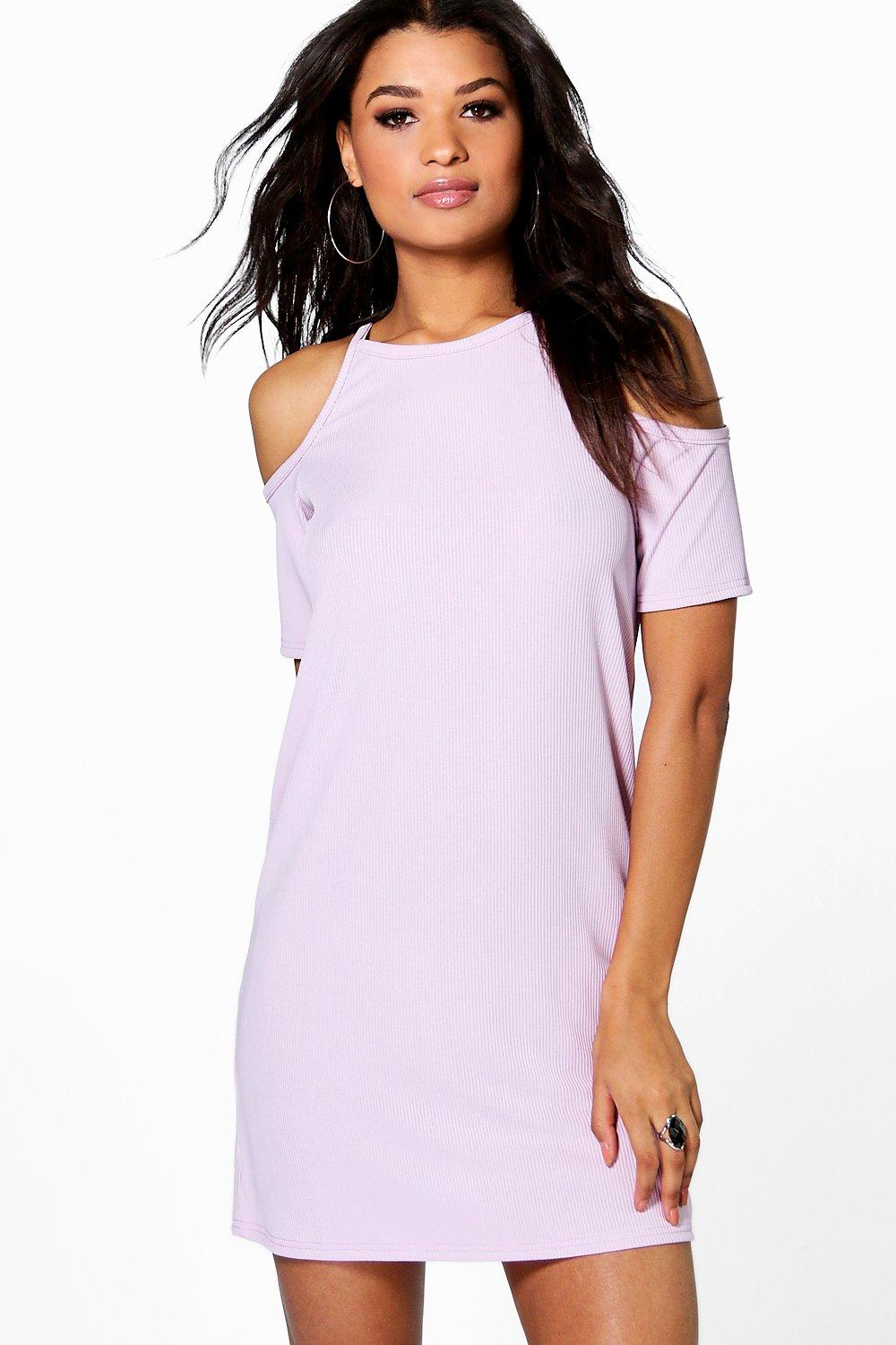 Jody Cold Shoulder Ribbed Bodycon Dress
