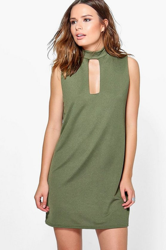 Sophia Choker Neck Plunge Shift Dress