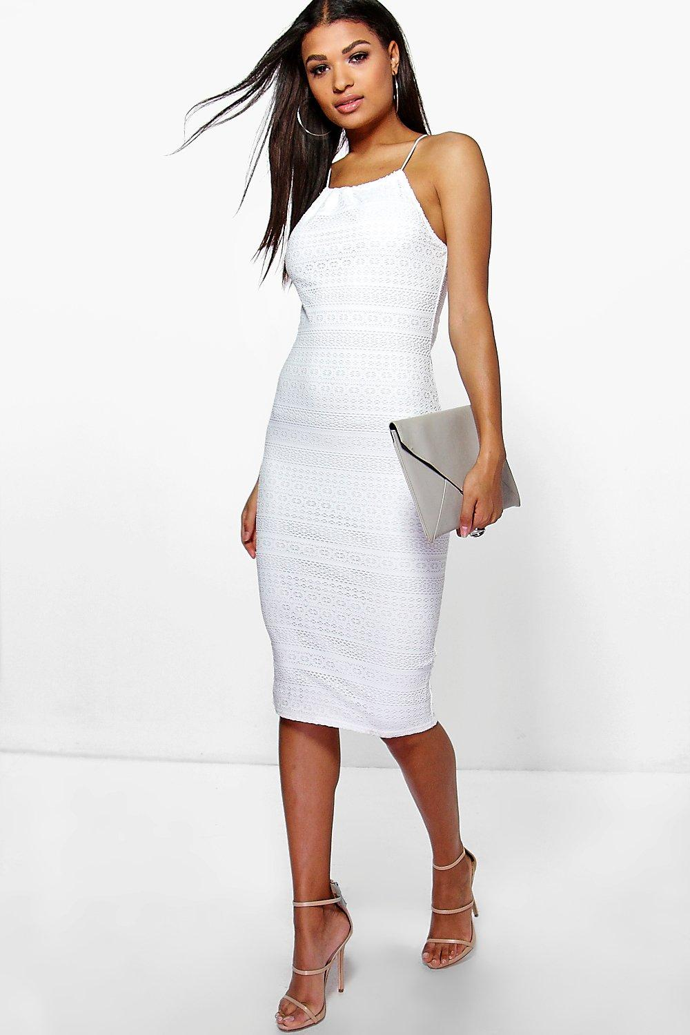 Carolina Crochet High Neck Midi Dress