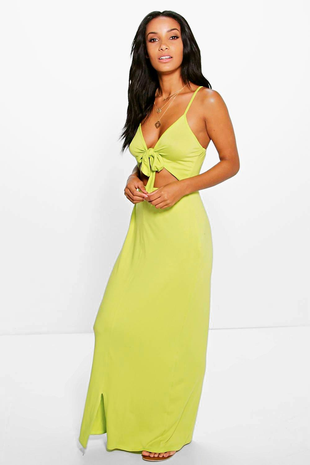 Amy Knot Front Strappy Midi Dress
