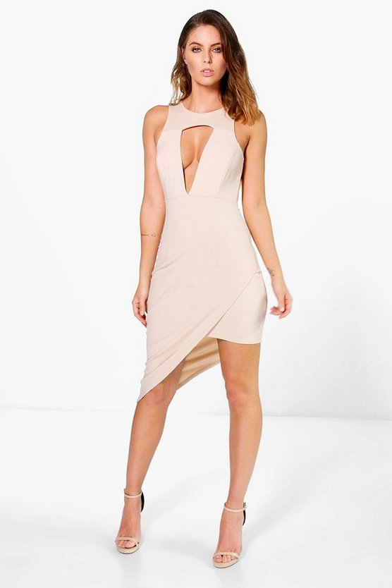 Montana Cut Out Detail Asymmetric Bodycon Dress