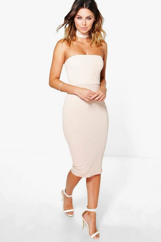 Elli Choker Bandeau Midi Bodycon Dress