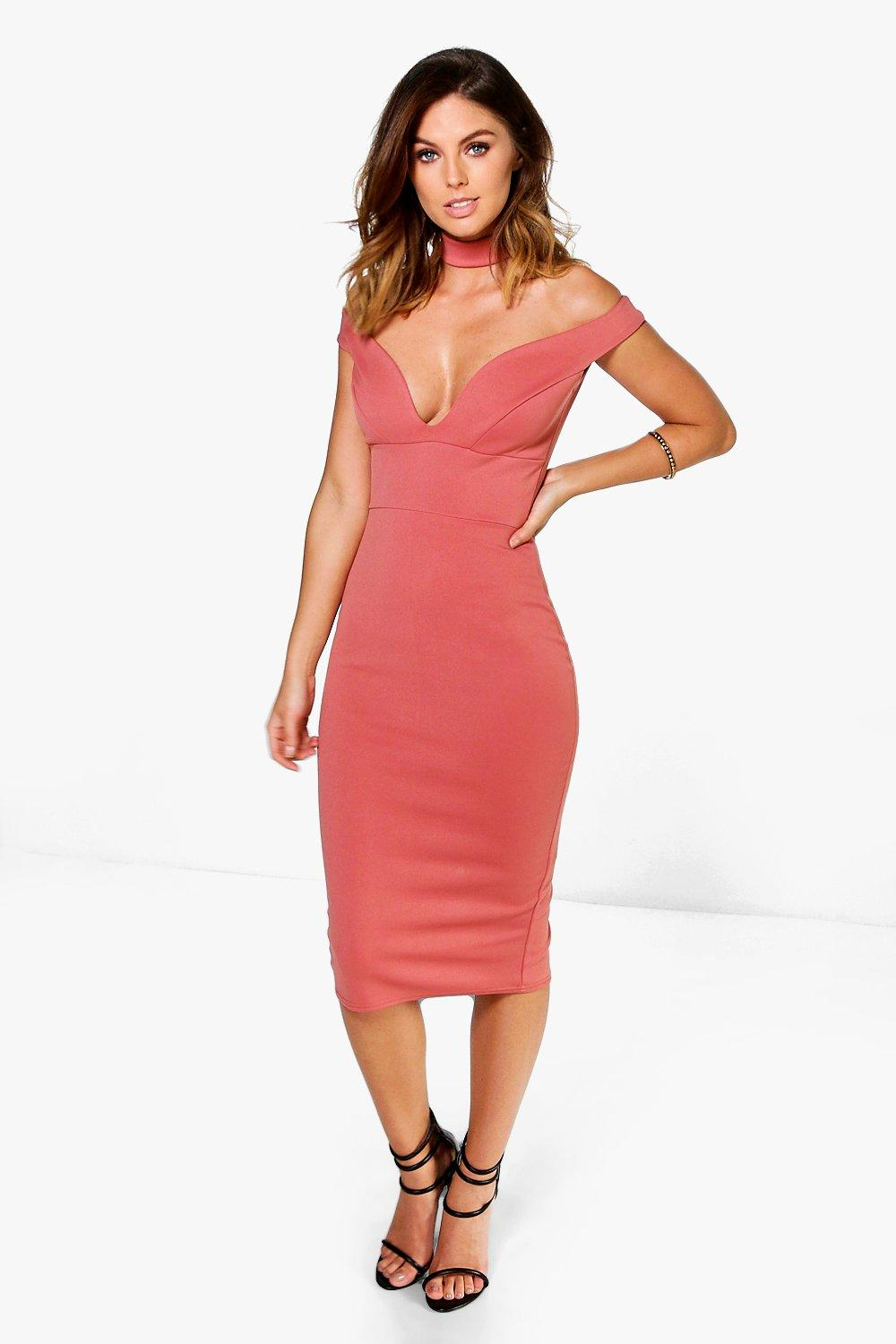 Ara Sweetheart Off The Shoulder Midi Dress
