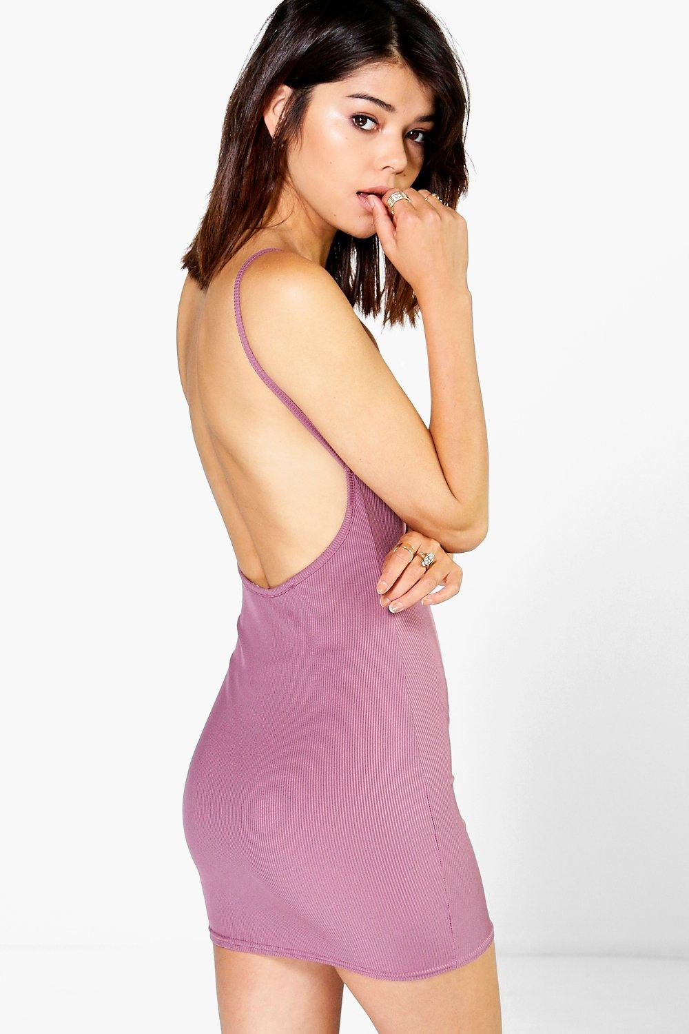 Ribbed Open Back Bodycon Dress  mauve
