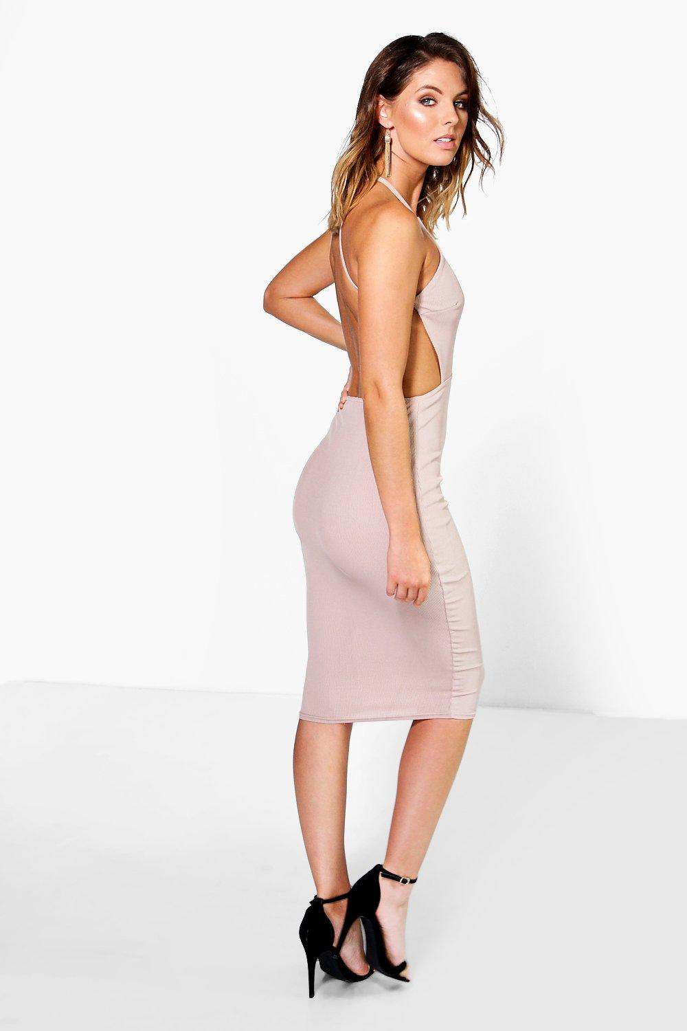 Ribbed Open Back Detail Midi Bodycon Dress sand