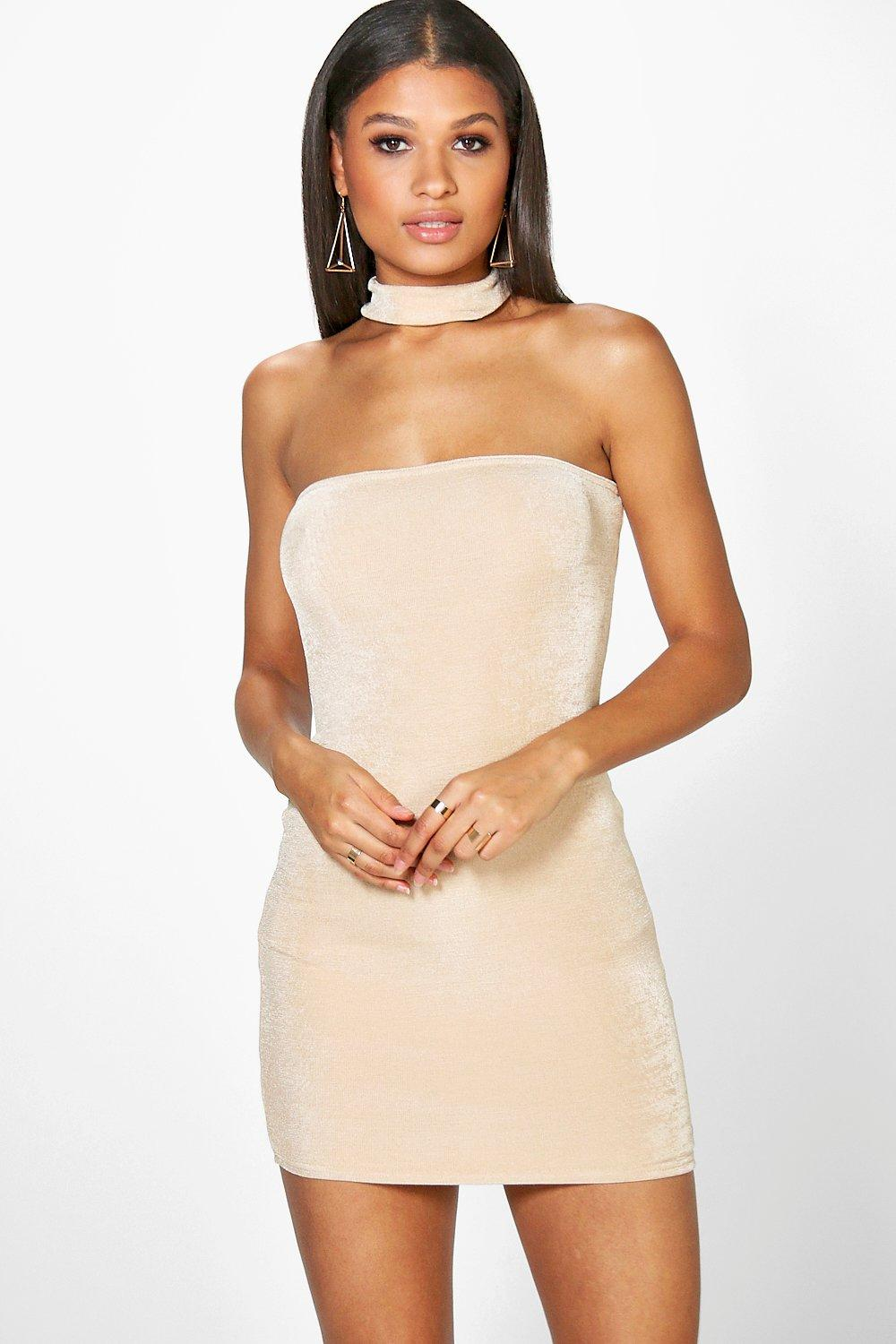 Daria Textured Slinky Choker Bodycon Dress