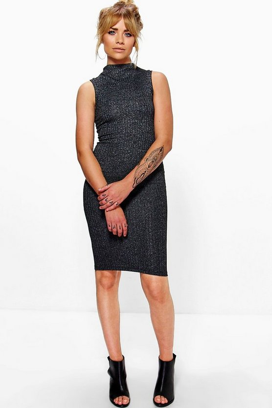 Aria High Neck Ribbed Bodycon Dress