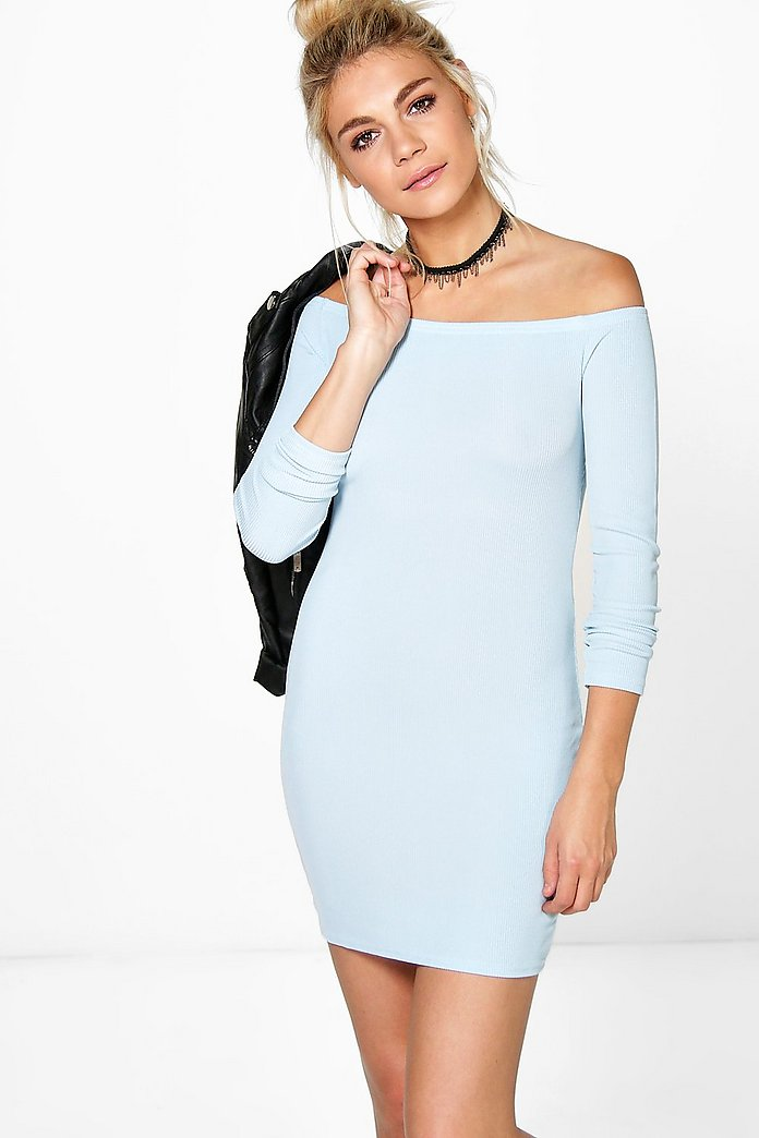 Sally Off Shoulder Long Sleeve Bodycon Dress