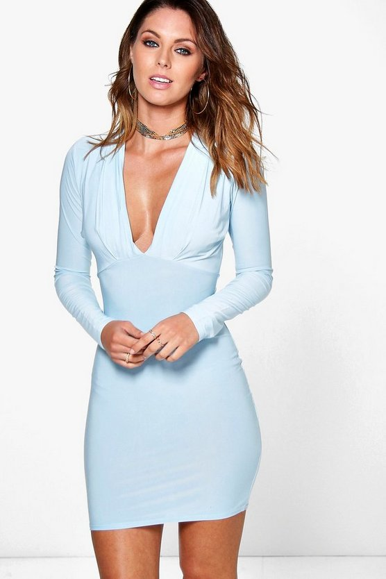 Vera Plunge Neck Long Sleeve Bodycon Dress