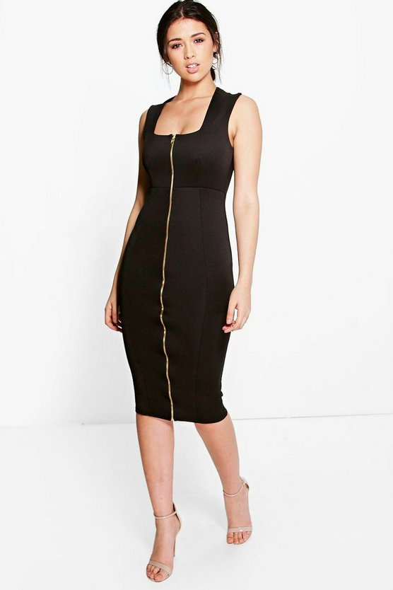 Sonia Square Neck Zip Front Bodycon Dress