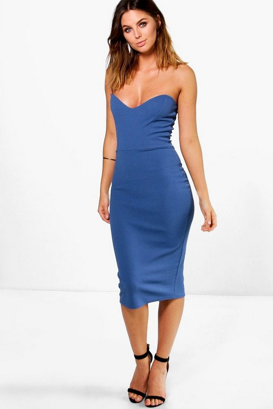 Viola Crepe Bandeau Midi Dress